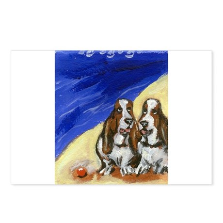 BASSETS at the Beach Design Postcards (Package of