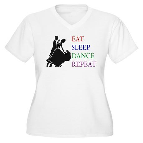 Eat Sleep Dance Women's Plus Size V-Neck T-Shirt
