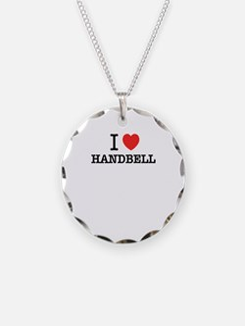 I Love HANDBELL Necklace Circle Charm