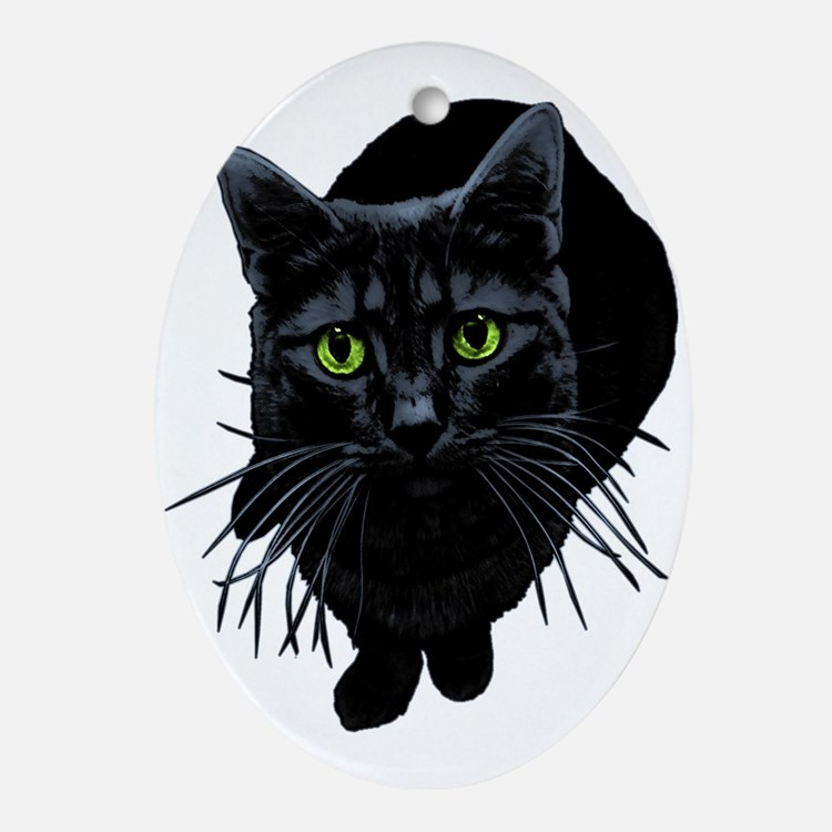 Black Cat Oval Ornament