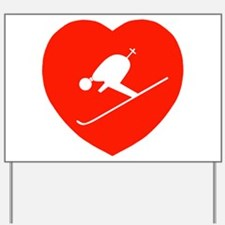 Love Skiing Heart Yard Sign