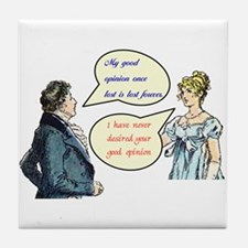 "Jane Austen ""good opinion"" quotes Tile Coaster"
