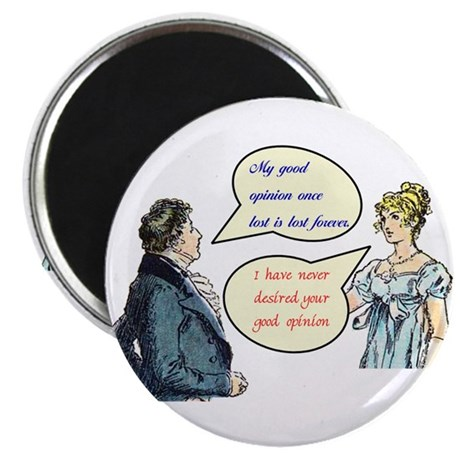 "Jane Austen ""good opinion"" quotes round magnets."