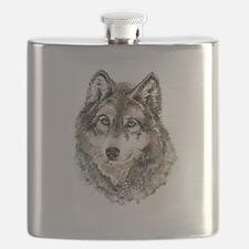 Watercolor Grey Gray Wolf Animal Nature Art Flask