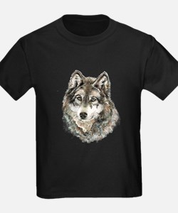 Watercolor Grey Gray Wolf Animal Nature Ar T-Shirt