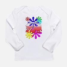 VW Hippie bus color flowers Long Sleeve T-Shirt
