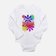 VW Hippie bus color flowers Body Suit