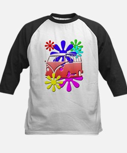 VW Hippie bus color flowers Baseball Jersey
