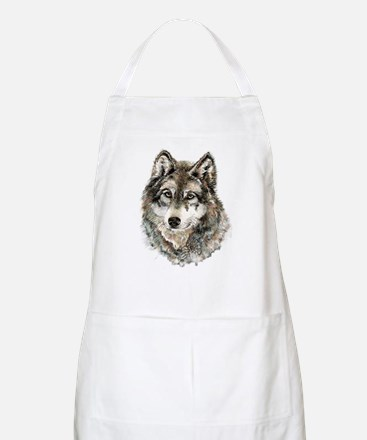 Watercolor Grey Gray Wolf Animal Nature Art Apron
