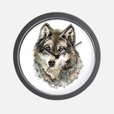 Watercolor Grey Gray Wolf Animal Nature Wall Clock