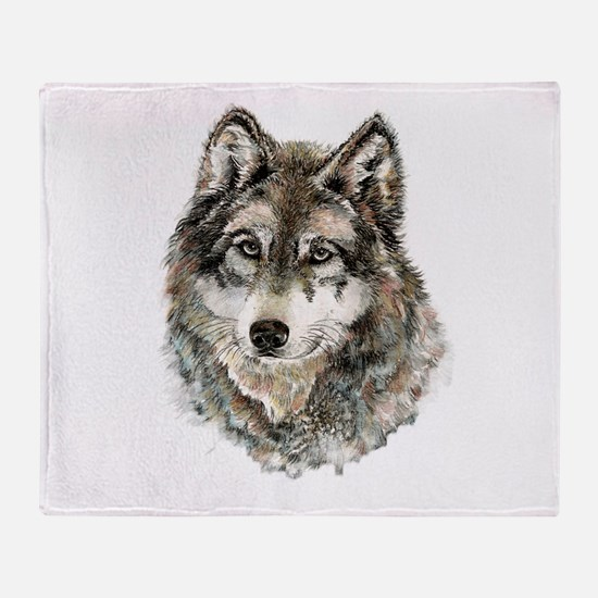 Watercolor Grey Gray Wolf Animal Nat Throw Blanket