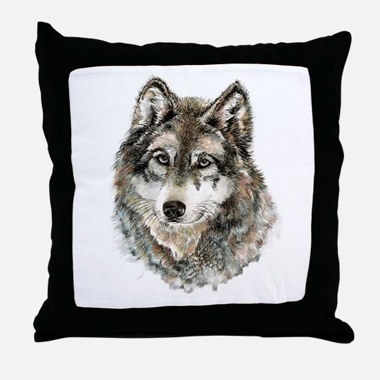Watercolor Grey Gray Wolf Animal Natu Throw Pillow