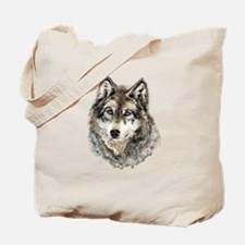 Watercolor Grey Gray Wolf Animal Nature A Tote Bag