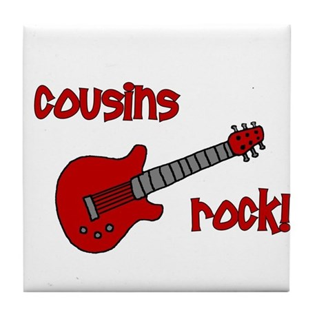 Cousins Rock! red guitar Tile Coaster