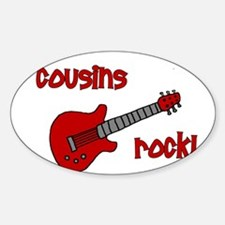 Cousins Rock! red guitar Oval Decal