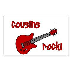 Cousins Rock! red guitar Rectangle Decal