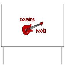 Cousins Rock! red guitar Yard Sign