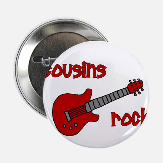 "Cousins Rock! red guitar 2.25"" Button"