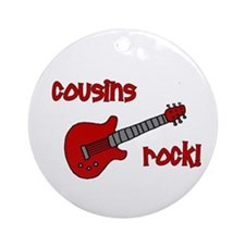 Cousins Rock! red guitar Ornament (Round)