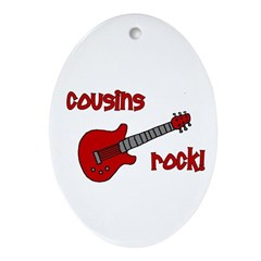 Cousins Rock! red guitar Oval Ornament