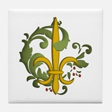 Christmas Fleur de lis Tile Coaster