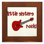 Little Sisters Rock! red guit Framed Tile