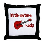 Little Sisters Rock! red guit Throw Pillow