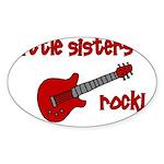 Little Sisters Rock! red guit Oval Sticker
