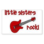 Little Sisters Rock! red guit Sticker (Rectangular