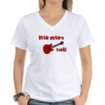 Little Sisters Rock! red guit Women's V-Neck T-Shi