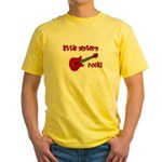 Little Sisters Rock! red guit Yellow T-Shirt