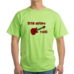 Little Sisters Rock! red guit Green T-Shirt