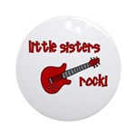 Little Sisters Rock! red guit Ornament (Round)
