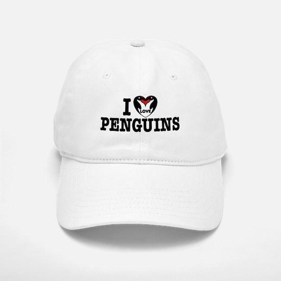 I Love Penguins Baseball Baseball Cap