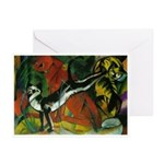 3 Cats Expressionist Pet Greeting Cards (Package o