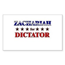 ZACHARIAH for dictator Rectangle Decal