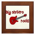 Big Sisters Rock! red guitar Framed Tile