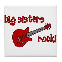 Big Sisters Rock! red guitar Tile Coaster