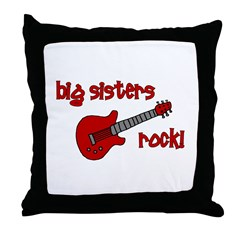 Big Sisters Rock! red guitar Throw Pillow
