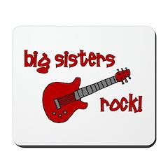 Big Sisters Rock! red guitar Mousepad