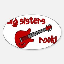 Big Sisters Rock! red guitar Oval Decal