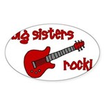 Big Sisters Rock! red guitar Oval Sticker