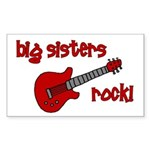 Big Sisters Rock! red guitar Rectangle Sticker