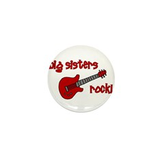 Big Sisters Rock! red guitar Mini Button