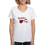 Big Sisters Rock! red guitar Women's V-Neck T-Shir