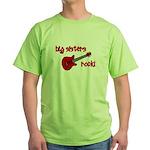 Big Sisters Rock! red guitar Green T-Shirt