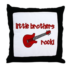 Little Brothers Rock! red gui Throw Pillow