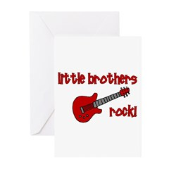 Little Brothers Rock! red gui Greeting Cards (Pk o
