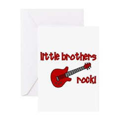 Little Brothers Rock! red gui Greeting Card