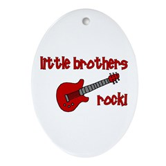 Little Brothers Rock! red gui Oval Ornament